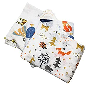 Little English Quality Muslin Squares cloth for Babies, Ultrasoft with 4 unique animal designs – Animal Friends – Pack…