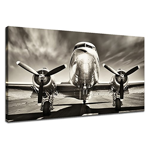 KLVOS Black and White Wall Art Large Turbine Fighter Aircraft on a Runway Antique Airplane Pictures Print on Canvas Modern Home Decor Framed for Office Ready to Hang (Vintage Aircraft, ()