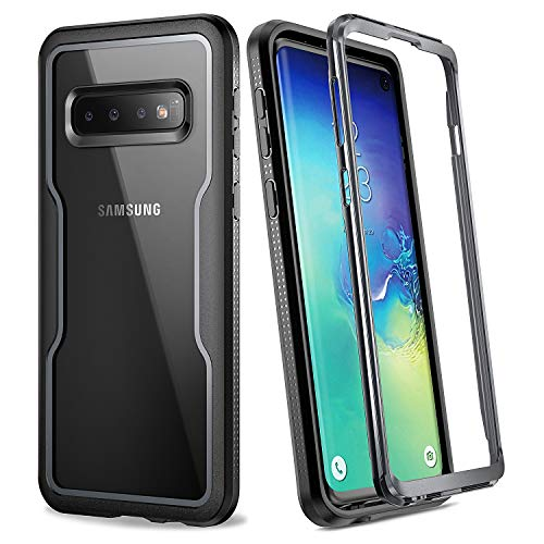 YOUMAKER Case for Galaxy S10, Crystal Clear Heavy Duty Protection Full Body Shockproof Slim Fit Without Built-in Screen Protector Cover for Samsung Galaxy S10 6.1 inch (2019) - Black