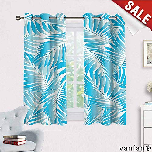 Big datastore Leaves Decor Curtains for Living Room,Miami Style Tropical Aquatic Palm Leaves with Exotic Colors Modern Summer Beach Cute Drapes for Space Themed,Turquoise W55 x L72 -