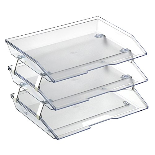 Acrimet Facility 3 Tier Letter Tray Plastic Desktop File Organizer (Crystal - Side Crystal Loading Letter Tray