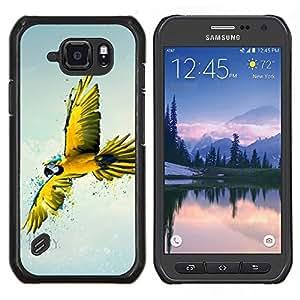 TECHCASE---Cubierta de la caja de protección para la piel dura ** Samsung Galaxy S6 Active G890A ** --Loro Azul Amarillo Colorido Flying Bird Naturaleza