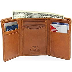 Tony Perotti Italian Leather Tri Fold Traditional Wallet with ID Window and Multi Card Holder Slots Double Currency Divider Gusset, Honey