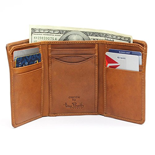 Tony Perotti Brown Bag - Mens Trifold Wallet Multi Pocket Credit Card Holder Money Gusset Italian Leather