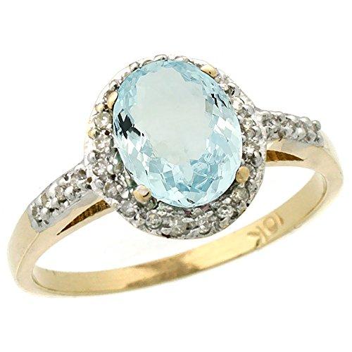 (10K Yellow Gold Diamond Natural Aquamarine Ring Oval 8x6mm, size)