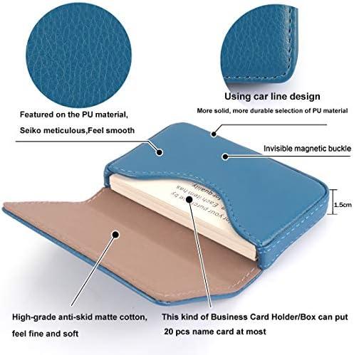 YOBANSA Visitenkartenetui aus Kunstleder, Brieftasche, Kreditkarten, Geschäftskartenhalter, Visitenkartenetui mit Magnetschnalle für Männer und Frauen (Blau 0A)