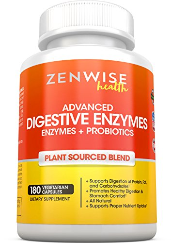 Digestive Enzymes Plus Prebiotics & Probiotics - Natural Gluten Free Support - For Better Digestion & Lactose Absorption - For Bloating & Gas Relief + Helps IBS & Leaky Gut - 180 Vegan Capsules