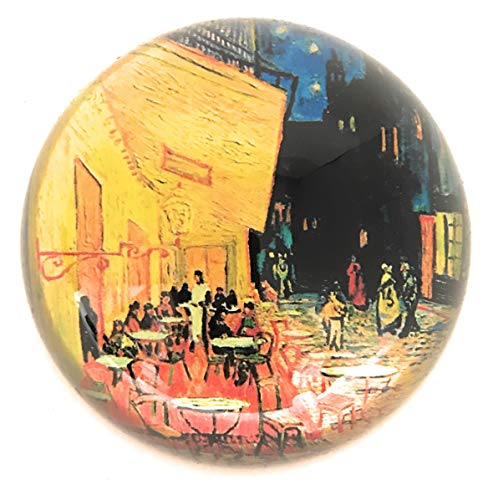 Value Arts Van Gogh's Cafe Terrace at Night Glass Dome Paperweight, 3 Inches Diameter