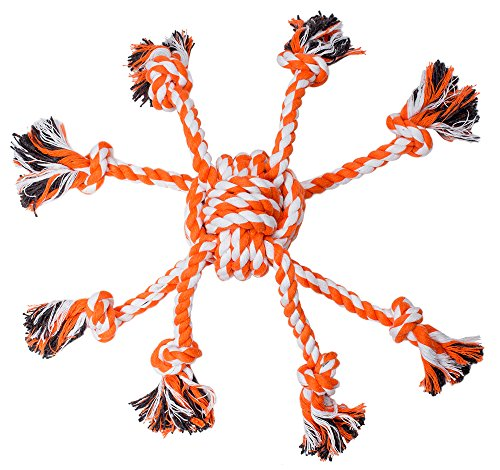 Tough Dog Rope Chew Toys – EXPAWLORER Best Indestructible Durable Interactive Dog Toy for Puppy Teething Small to Large Pet Outdoor Playing Heavy Duty, Orange and White 16″