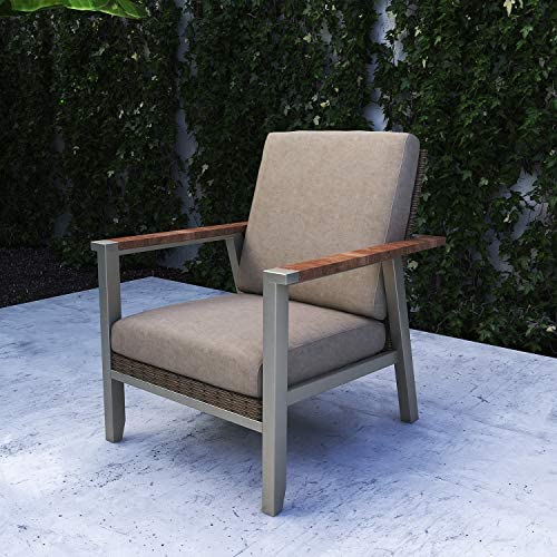Festival Depot Dining Outdoor Patio Bistro Furniture Armchairs Wicker Rattan Wooden Grain Armrest Fabric Comfort 3.9 Cushions with Metal Slatted Steel Frame Legs for Lawn Garden Poolside All-Weather