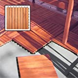 Vifah V375 Outdoor Patio 8-Slat Eucalyptus Interlocking Deck Tile (Set of 10 Tiles); Outdoor Covering for Patios, Decks, Balconies, Porches, Walkways, Pools and Hot Tubs