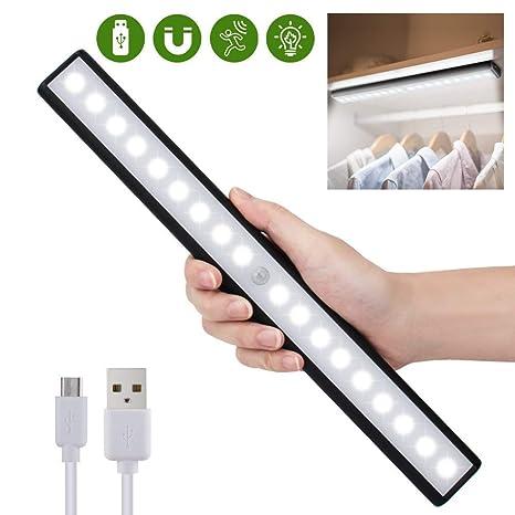 Sensor de movimiento de luz de gabinete para el armario, cajón, armario, sensor de movimiento inalámbrico de 18 bajo la iluminación del gabinete, USB ...