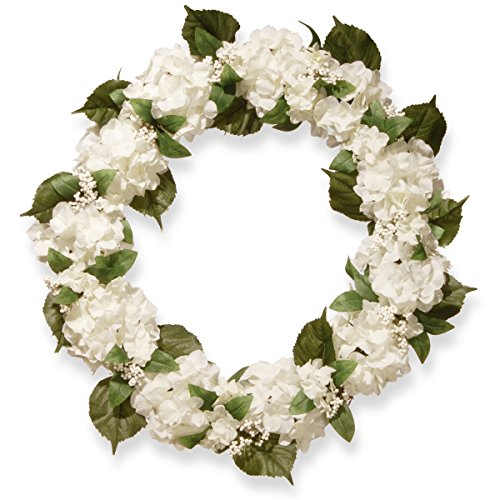 National Tree 32 Inch Floral Wreath with Cream Hydrangeas and Berries (RAS-SN191418-C1)