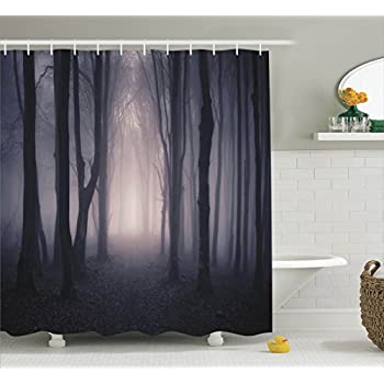 Tree Shower Curtain Farm House Decor By Ambesonne, Path Through Dark Deep  In Forest With