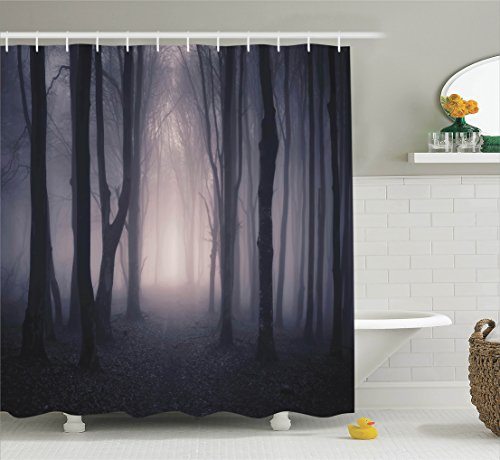 [Tree Shower Curtain Farm House Decor by Ambesonne, Path Through Dark Deep in Forest with Fog Halloween Creepy Twisted Branches Picture, Fabric Bathroom Shower Curtain Set with Hooks, Pink] (Halloween Ideas For Couples)