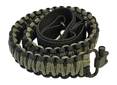 Ten Point Gear Gun Sling Paracord 550 Adjustable w/Swivels (Multiple Color Options) (Black & OD - Olive Drab Green)