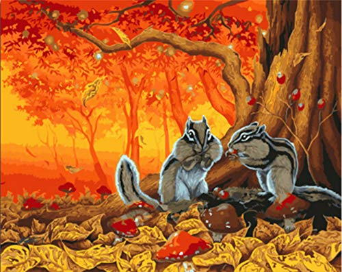 (Canvas Wall Art Painting by Numbers Animal Squirrel DIY On Canvas Painting and Calligraphy Wall Art 16X20In)