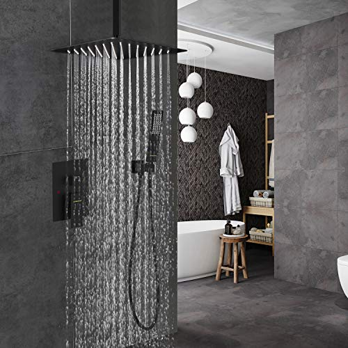 EMBATHER Black Shower System- 12 Inches Ceiling Shower Faucet Set with Square Rain Shower Head and Handheld-Shower Combo Set for Bathroom-Easy Installation- Eco-Friendly(Valve included)