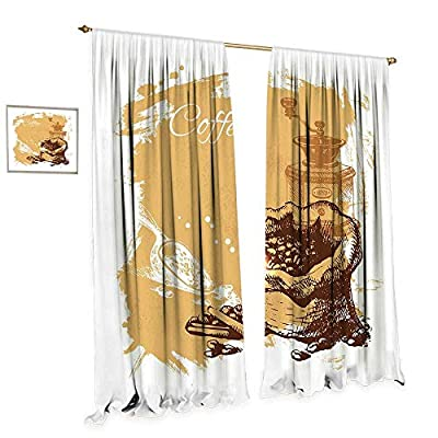 cobeDecor Coffee Patterned Drape for Glass Door Vintage Sketch Art an Antique Mill and Bag of Beans with Cinnamon Sticks Waterproof Window Curtain W72 x L84 Brown Pale Brown White