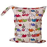 OULII Cartoon Elephant Pattern Washable Reusable Waterproof Zippered Baby Cloth Diaper Nappy Bag Wet Dry Bag Tote with Soft Snap Handle