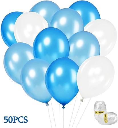 couleur attrayante site officiel inégale en performance SPECOOL Ballons Bleu Blanc, 50 Pièces 12 Pouces Ballons en Latex Bleu Blanc  pour Fête Anniversaire Déco Garçon, Décorations d'anniversaire, Baptême ...