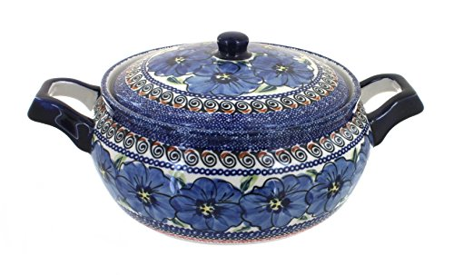 Polish Pottery Blue Art Medium Round Baker with Lid