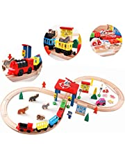 QZMTOY Wood Train Set with 2-Side Thomas Brio Chuggington 30pc Magnetic Train Tracks Cars Airplane Animal Zoo Accessories for Boys Girls Game Toddler Toy Gift