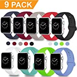 DOBSTFY Band Apple Watch 38mm 42mm, iWatch Bands Soft Silicone Replacement Strap Sport Band Apple Watch Series 3 2 1 Nike+ Edition, S/M M/L, 9/8 / 6PACK (Apple Watch Bands 42mm, 9PACK, 42mm M/L)