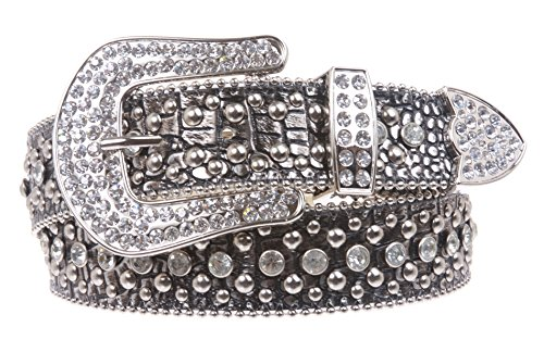Ladies Rhinestone Studs Croco Print Leather Belt Color: Silver Size: M/L - 35 ()