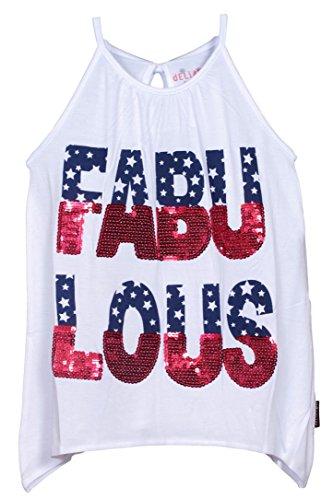 'dELiAs Girls Fabulous Fashion Graphic White Tank Top Size 6X'
