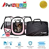 """PET4FUN PN935 35"""" Portable Pet Puppy Dog Cat Animal Playpen Yard Crates Kennel w/Premium 600D Oxford Cloth, Tool-Free Setup, Carry Bag, Removable Security Mesh Cover/Shade, 2 Storage Pockets(Pink)"""