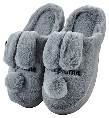 Blubi Mujeres Plush Closed Toe Bunny Zapatillas Skidproof Rabbit Slippers Cute Zapatillas Gris