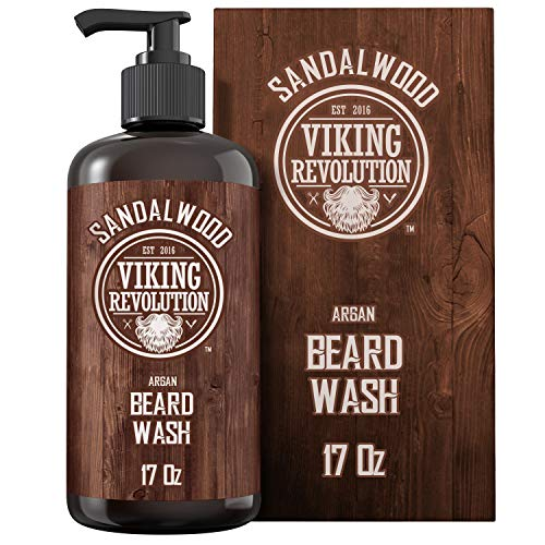 Best Deal Beard Wash Shampoo w/Argan & Jojoba Oils – Softens & Strengthens – Sandalwood Scent – Beard Shampoo w/Beard Oil (17 oz Shampoo)