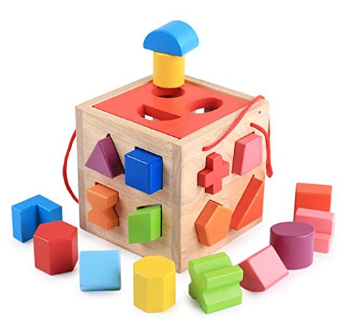 Baby Toddler Kids Gifts Wooden Geometric Sorting Box Educational Shape Color Recognition Toy for Kids