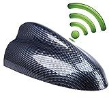 Car Antenna,POSSBAY Shark Fin Antenna AM FM Radio Signal Aerial Adhesive Tape Base Super Functional