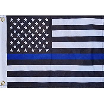 """State of Tennessee w// Police Blue Line Flags 4/""""x6/"""" Desk Set Table Black Base"""