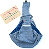 BuddyTastic Pet Sling Carrier - Reversible and Hands-Free Dog Bag with Adjustable Strap and Pocket - Soft Puppy Sling for Pets up to 13 lbs - Grey & Navy Blue Larger Image