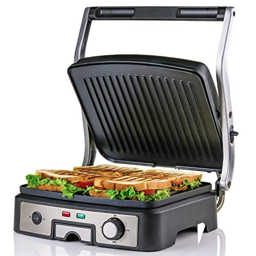 OVENTE GP1861BR Electric Panini, 180 Adjustable Hinge, Non-Stick, 3 Heat Settings, Drip Tray, FREE Grill, 1500W, Silver, 6-Slice, Nickel Brushed