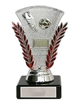 Trofeo fútbol, plata rojo o azul con balón, bota y portería: Amazon.es: Deportes y aire libre