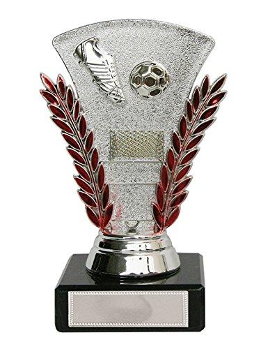 Trofeo f/útbol plata rojo o azul con bal/ón bota y porter/ía