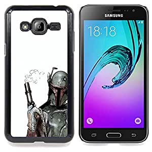 - Smoking Gun Bobba Fett - - Cubierta del caso de impacto con el patr??n Art Designs FOR Samsung Galaxy J3 Queen Pattern