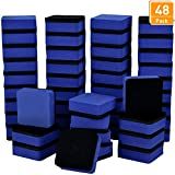 Blulu 48 Pieces Mini Magnetic Whiteboard Erasers Dry Erase Erasers Chalkboard Erasers for Home Classroom Office Use (Blue, 1.97 x 1.97 Inches)