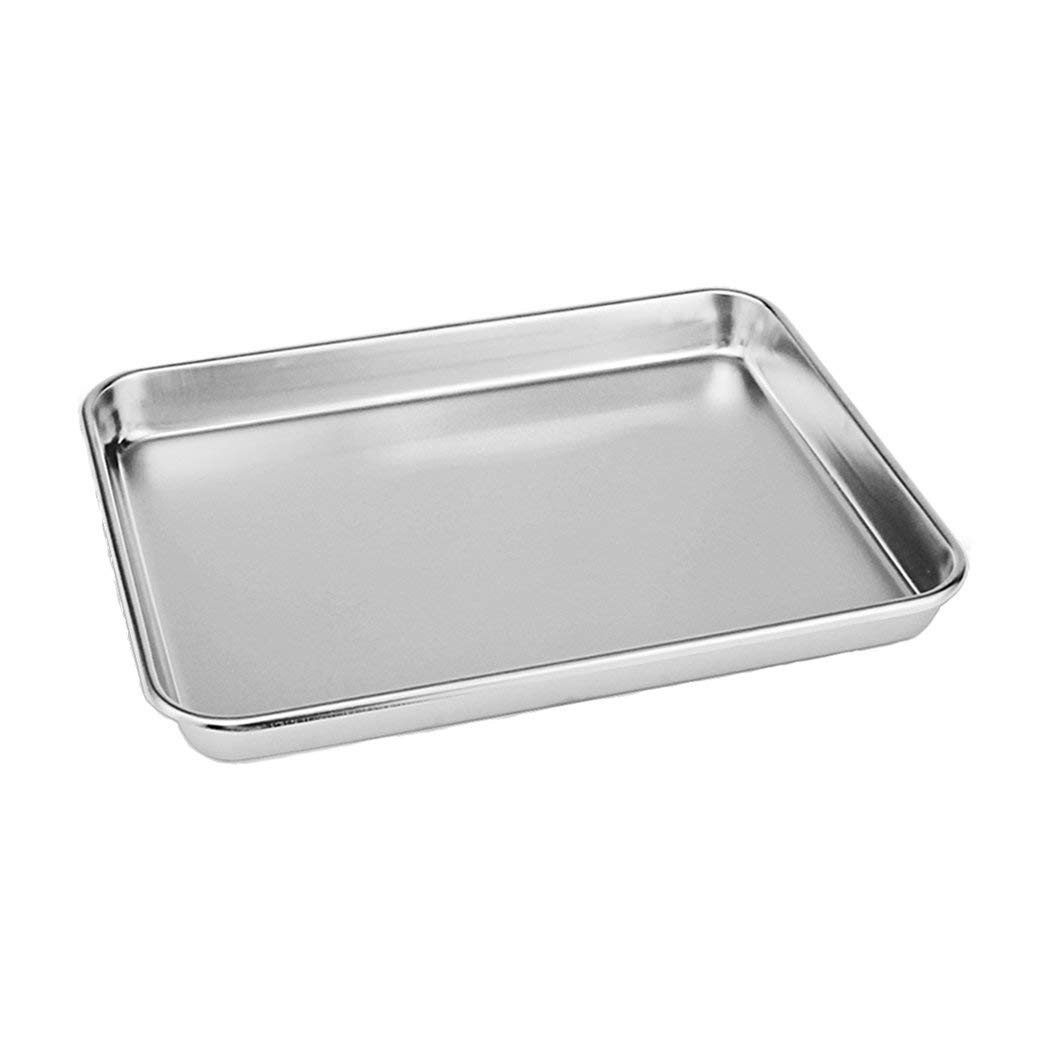 Rykey Stainless Steel Compact Toaster Oven Pan Tray Ovenware Professional, Heavy Duty & Healthy, Deep Edge, Warp Resistant Nonstick Baking Pan 10.4''x8.1''x1'', Silvery by Rykey