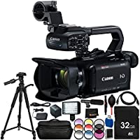 "Canon XA15 Compact Full HD Camcorder - 13PC Accesory Bundle Includes 32GB SD Memory Card + 3PC Filter Kit (UV, CPL, FLD) + 72"" Full-Size Tripod + Professional 160 LED Video Light + MORE"