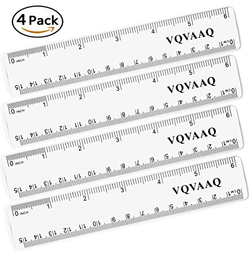 Straight Ruler Plastic Ruler Plastic Measuring Tool 6 Inches, Clear,4 Pieces(4 pcs-4 inch Plastic (4in Ruler)