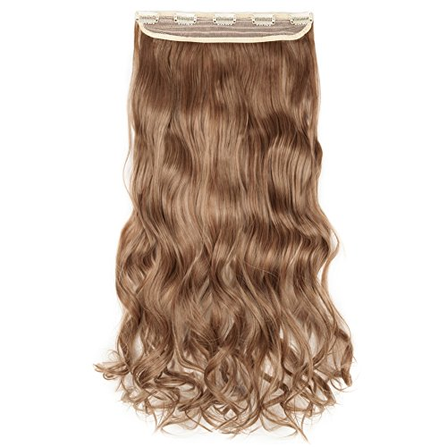 Beauti-gant Clip in Extensions Synthetic Hair-pieces Half Full Head 24 Inches Curly 5 Clips 140G,Ash Blonde Mix Light Auburn