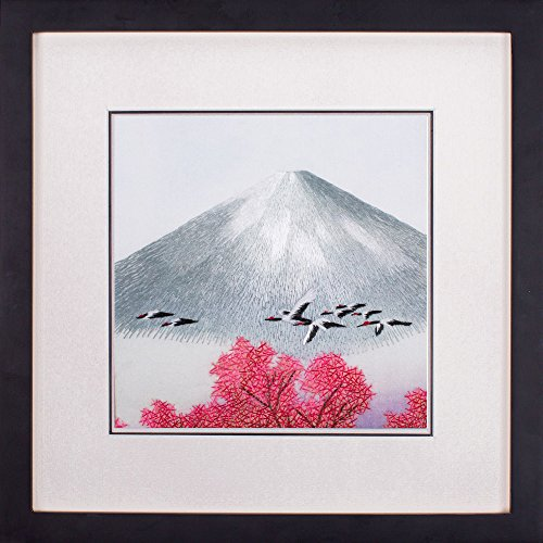 Paintings Crane Gallery (SILK ART Pure Handmade Embroidery Folk Custom Artwork Hanging Wall Decoration Feng Shui Japanese Famous Scenery Cranes Fly over Cherry Blossom Ink Wash Brush Style Traditional Painting Framed SFJ004B)