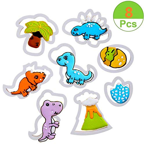 Sakolla Dinosaur Cookie Cutter Set - Baby Dinosaur Biscuit Fondant Cutters for Kids Birthday Cookie Party Supplies Favors,Chocolate Candy Cupcake Decoration Cake DIY Baking Tools - Set of 8]()