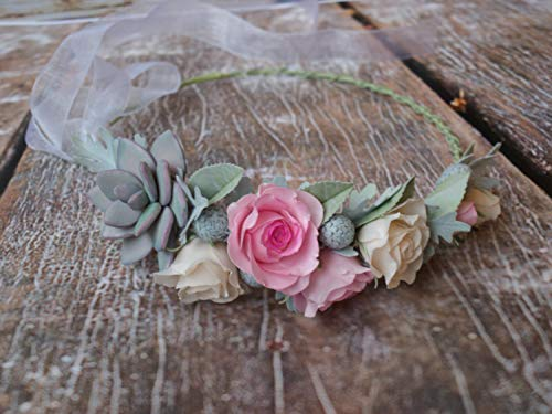 Floral headband Rustic Headband Pink cream flower crown Floral headband Wedding crown Roses crown Maternity photo Flower girl Women Prom (Cream Floral Pink)