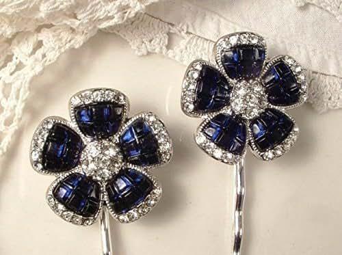 Amazon.com: Sapphire Navy Blue Rhinestone Art Deco Silver